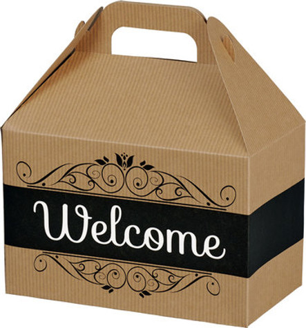 Welcome Gable Box filled with Northwest treats and coordinating personalized ribbon