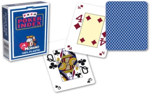 Poker, 4-Corner Mini-Index, 100% Plastic, Blue Back