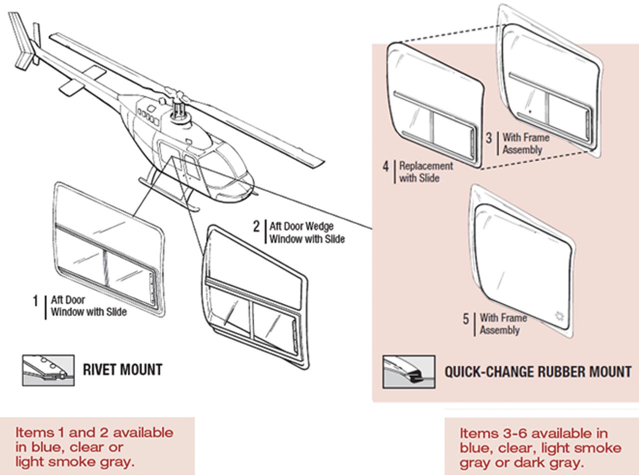 206BW-QC-1006-7 Tech-Tool Aft Door Wedge Window Replacement w/Slide
