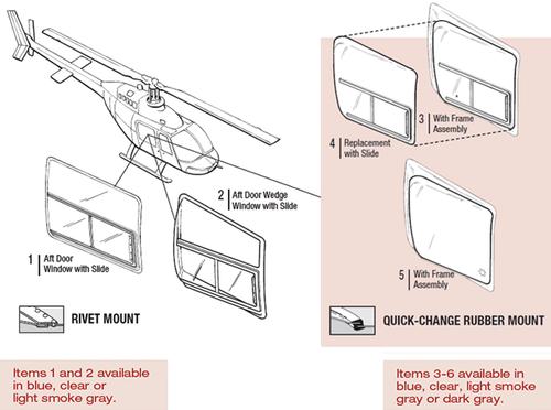 206W-1006-3 Tech-Tool Aft Door Wedge Window with Slide