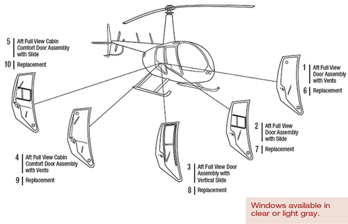 R44-102-10 Tech-Tool Aft Full View Cabin Comfort Door Assembly w/Slide