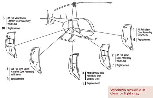 R44-102-15 Tech-Tool Aft Replacement Door Window with Vertical Slide