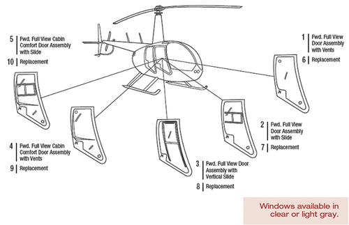 R44-101-17 Tech-Tool Fwd. Replacement Cabin Comfort Door Window w/Vents