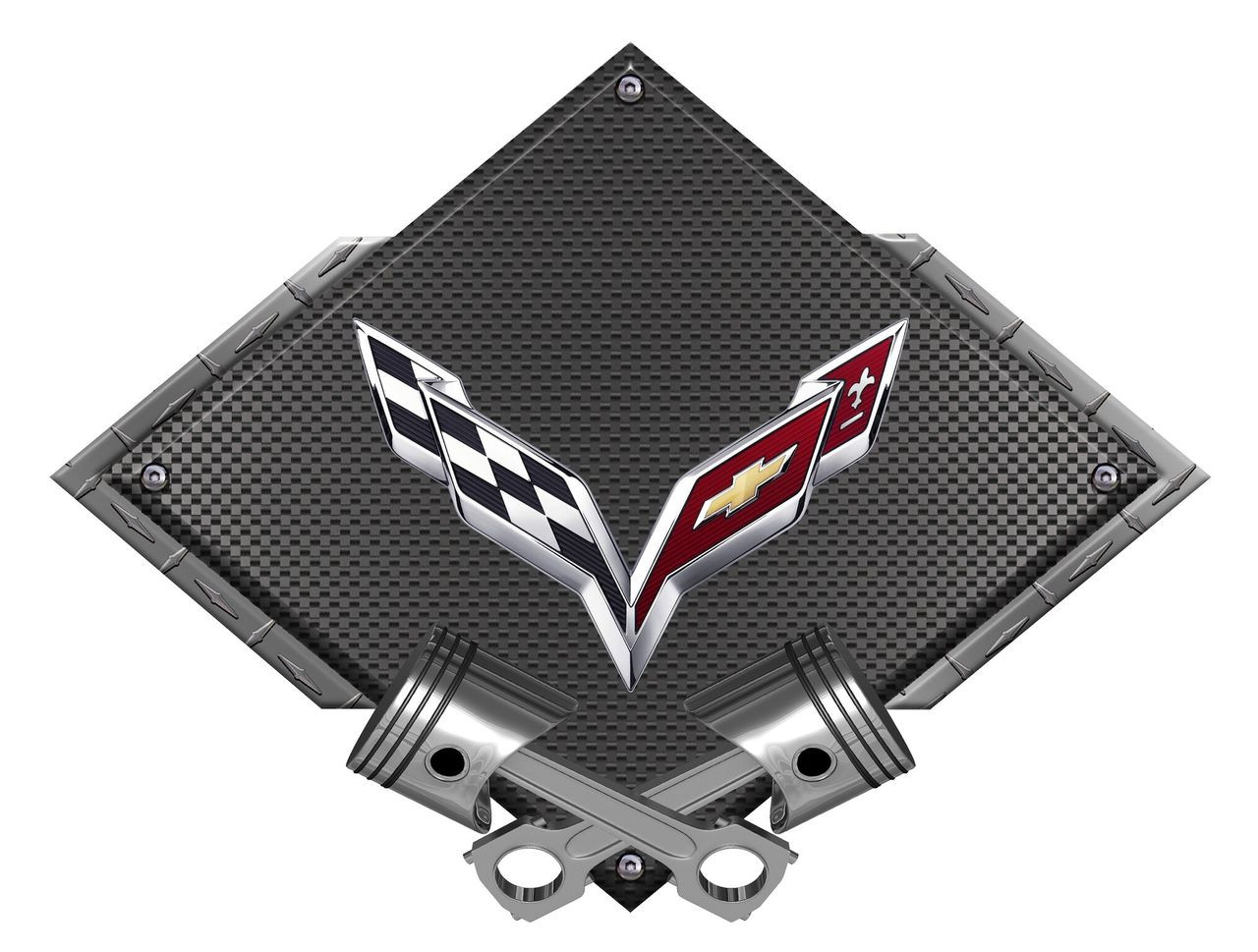 CORVETTE C4 Crossed Flags Metal Magnet Sign 5 X 3 Photo Steel