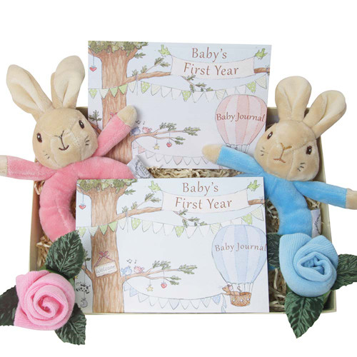 Twins Peter Rabbit and Flopsy Bunny Rattle Gift Set