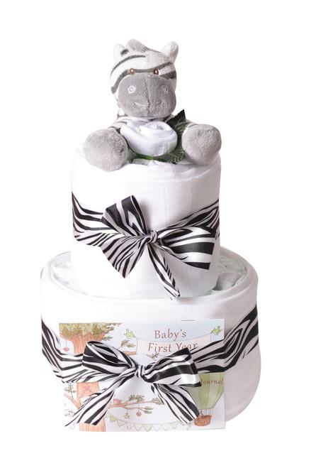 2 Tier Safari Zebra Nappy cake
