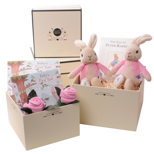 2 Tier Baby Girl Twins Gift Box (Flopsy Bunny)