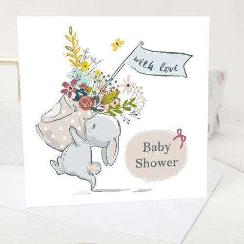 Baby Shower greeting card Vintage Bunny