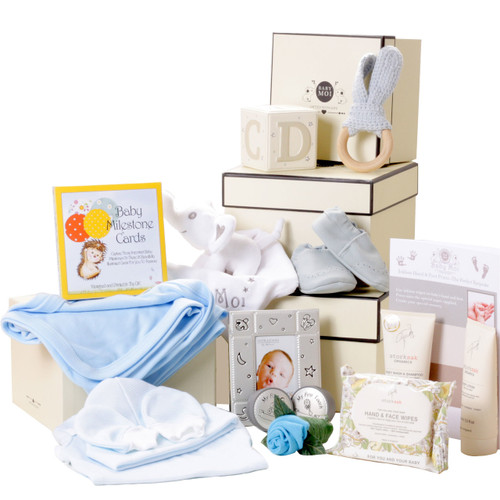 3 Tier Keepsake Luxury Hamper Baby Boy Gift Box Set Baby Moi Elephant