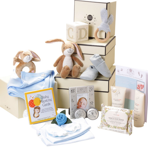 3 Tier Keepsake Luxury Baby Boy Hamper Gift Box Set (Hare)