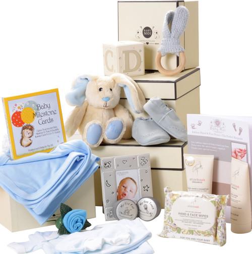 3 Tier Keepsake Luxury Baby Boy Gift Box Set Baby Moi Bunny Rabbit