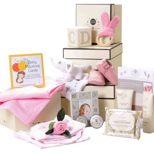 3 Tier Keepsake Luxury hamper Baby Girl Gift Box Set Baby Moi Elephant