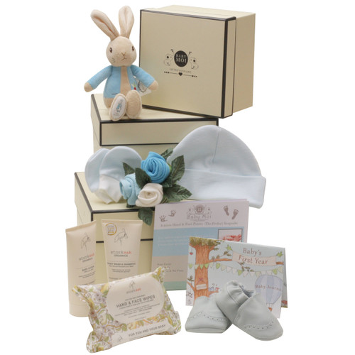 3 Tier Welcome To The World Baby Boy Gift Box Hamper Peter Rabbit