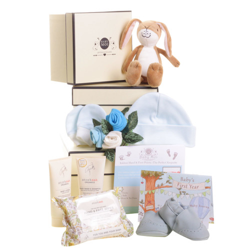 3 Tier Welcome To The World Baby Boy Gift Box Hamper Hare