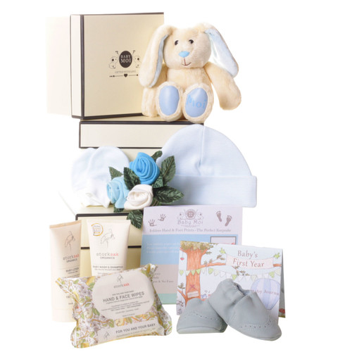 3 Tier Welcome To The World Baby Boy Gift Box Hamper MOi Bunny Rabbit