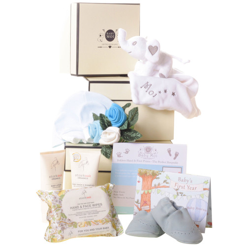 3 Tier Welcome To The World Baby Boy Gift Box Hamper Moi Elephant