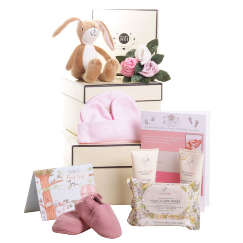 3 Tier Welcome To The World Baby Girl Gift Box Hamper Gmily Hare