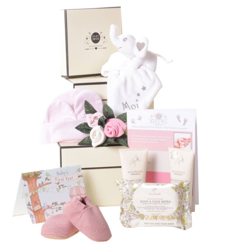 3 Tier Welcome To The World Baby Girl Gift Box Hamper Baby Moi Elephant