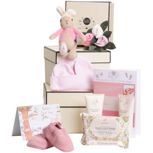 3 Tier Welcome To The World Baby Girl Gift Box Flopsy Bunny