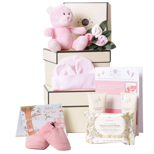 3 Tier Welcome To The World Baby Girl Hamper Gift Box Pink Bear