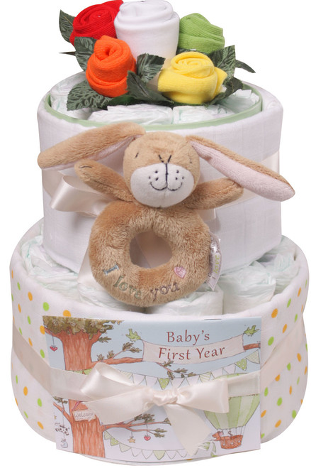 2 Tier Sock Bouquet Nappy Cake (Hare)