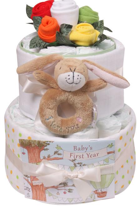 2 Tier Sock Posy Nappy Cake (Hare)