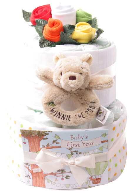 2 Tier Sock Bouquets Nappy Cake Baby Gift (Winnie)
