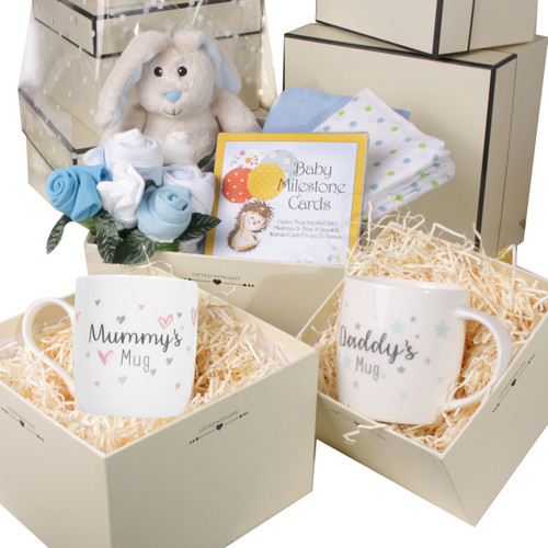 3 Tier New Baby Boy and Parents Gift Box Hamper Set Blue Bunny