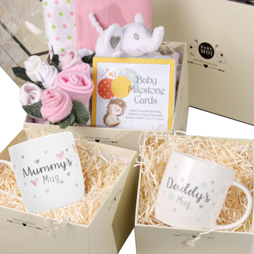 3 Tier New Baby Girl and Parents Gift Box Hamper Set Pink Elephant