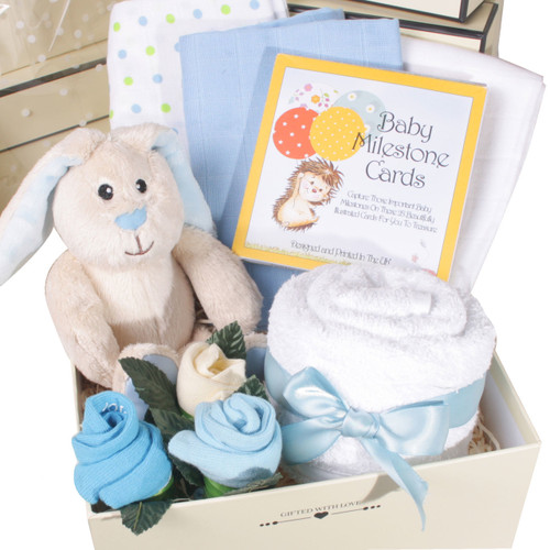 2 Tier Welcome Little One Baby Boy Gift Box (Blue)
