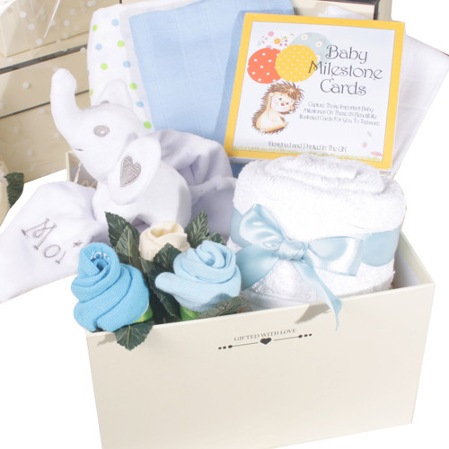 2 Tier Welcome Little One Baby Boy Gift Box Elephant (Blue)