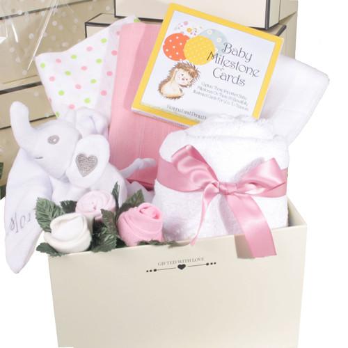 2 Tier Welcome Little One Baby Girl Gift Box Elephant (Pink)