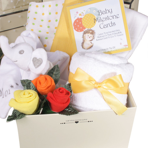 2 Tier Welcome Little One Baby Gift Box Elephant (Neutral)