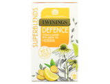 Citrus & Ginger Flavoured Herbal Infusion with Green Tea, Echinacea Root and added Vitamin C.  Vitamin C supports the normal function of the immune system.  Enjoy at least 1 cup a day as part of a varied and balanced diet and a healthy lifestyle.  Feeling great is the inspiration behind this carefully crafted Defence blend.  A delicious combination of green tea, juicy fruit flavours and Echinacea root provides a comforting taste, while the added Vitamin C helps to support your immune system and helps you feel at your best every day.  What does it taste like? A vibrant, unique blend with green tea, herbal ingredients and the delicious flavours of citrus fruits.  The addition of a little ginger into the mix helps to make this Defence blend warm and smooth.     Green Tea (26%), Ginger Root (15%), White Hibiscus, Cinnamon Bark, Natural Lemon Flavouring with other Natural Flavourings (10%), Echinacea Root (9%), Lemon Peel (5%), Natural Flavouring, Natural Lime Flavouring (4%), Vitamin C (2%).  Suitable for Vegans