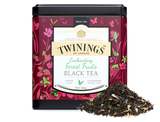 Strawberry, blueberry and raspberry flavour black tea.  Lose yourself in the forest – dark glades and dappled sunlight, branches hanging heavy with fruit.  Twinings Master Blenders bring you the flavours of ripe raspberry, strawberry and blueberry, shot through with a rich streak of vanilla flavour to complement the depth and body of the black China tea.    INGREDIENTS Black Tea, Flavourings (3%) Strawberry Pieces (2%), Blueberries (1%), Pink Cornflowers (1%).