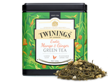 Mango and ginger flavour green tea.  The full, plump flavour of mango with an exciting gingery twist, over a base of green tea. Morning or afternoon, this is a blend to lift your mood and warm your soul.  INGREDIENTS Green Tea, Ginger Root (25%), Flavourings (3%), candied mango pieces (mango, sugar) (3%)