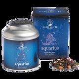 Fragrant green tea blend, inspired by the eleventh Zodiac sign, Aquarius.  Chinese green teas, Japanese green teas, papaya, flavours, rosa moschata petals, cornflower petals.