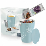 Authentic loose leaf tea is now deliciously simple. The Loose Tea Starter Sets include 10 pre-measured tea pouches, 2 of each blend. Also included is one double-walled, 12oz ceramic Steeping Cup, lid, and integrated stainless steel infuser basket. This festive assortment of loose tea is designed for sipping all winter long and available for a limited time.  Includes ten Winter Single Steeps® Loose Tea Pouches, two of each: Rum Raisin Biscotti, Sweet Orange Spice, Harvest Aple Spice, Spiced Ginger Plum, Winter Chai – Includes Snowflake KATI Steeping Cup and stainless steel infuser