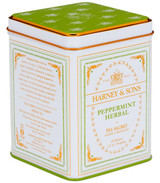 Caffeine-free herbal. Classic tin of 20 sachets. Each tea sachet brews a 12 oz cup of tea.  Ingredients: Peppermint. All Natural.
