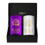 Two canisters of tea in a black presentation case - two ways of discovering new realms of taste, colour and joint pleasures.   WEDDING IMPERIAL, purple tin : black tea   EARL GREY IMPERIAL, white tin : black tea   Black classical presentation case holding 2 colorful canisters, each containing 100g of flavoured tea.