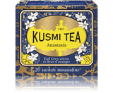 BLEND OF BLACK TEA, BERGAMOT AND ORANGE BLOSSOM Inspired by the story of the Grand Duchess Anastasia, daughter of the Romanov dynasty's Czar Nicholas II, this exclusive Earl Grey blend exemplifies Kusmi's famous Russian taste with its combination of black tea, bergamot, lemon and orange blossom. Kept secret since its creation, Anastasia is one of the iconic recipes created by Pavel Kousmichoff.   Ingredients: Russian blend of black China and Ceylon teas with scents of bergamot, lemon, lime and orange blossom  Infusion time 3-4 min  Infusion temperature 85-90°C  Perfect for iced tea  INGREDIENTS  Black tea  Essential oils of bergamot  Lemon  Lime Flavouring