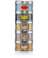 The Russian Blends assortment of mini tins is perfect for discovering the famous Russian taste based on Earl Grey. Prince Vladimir with its delicious blend of citrus flavours, vanilla and spices, Anastasia with its fruity blend of lemon and orange blossom, St. Petersburg, an indulgent blend of caramel and fruits, Bouquet of Flowers N°108, a delicate pairing of citrus and flowers, and Troika, the subtle combination of orange and tangerine.