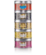 An assortment of 5 mini tins of Kusmi's classic blends, perfect for any time of day. Earl Grey and Russian Morning N°24, blends of full bodied black teas, are perfect for breakfast. Spicy Kashmir Tchai pairs perfectly with lunch. Jasmine green tea green tea will delight those who love floral notes at tea time. The decaffeinated version of our Earl Grey keeps its personality without the stimulating effects of caffeine, for your evening enjoyment.