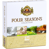"Basilur's Four Seasons assorted gift box is a celebration of each hopeful season, reminding you the joys of the seasonal changes, the many flavours of Autumn, Winter, Spring and Summer. Each blend of tea will leave you cozy, warm, refreshed and energized through each changes of time. A beautiful gift to be presented during any time of the year, representing the bond, friendships and respect you hope to convey with the gift giving. An assortment of world's finest teas, perfect for gifting to friends and family to compliment every season of the year.  40 ASSORTED FOUR SEASONS TEA BAGS Autumn Tea: As beautiful Maple leaves turn brilliant red and fiery yellow in Fall, Basilur Four Seasons swirl into ""Autumn Tea"" with world's finest Ceylon black tea, complimented with a tantalizing taste of Maple syrup. Together, they release a calming and soothing aroma and smooth, silky taste reminiscent of a delicious feast. Winter Tea: Warming your body and soul, enjoy the delightful aroma and romance of Basilur Winter Tea. Together with tantalizing flavour of Cranberry, which give you a highly fragrant, strong fruity aroma, a perfect drink for anytime of the day to relax and invigorateyour soul and senses. Spring Tea: At the end of winter, everyone is waiting for the blooming of Sakura, or cherry blossoms as a symbol of Spring season. The Sakura is one of most well known icons and symbolizes the ephemeral nature of beauty. With our new series of Spring teas, we are pleased to offer a way of enjoying Sakura all year long. Summer Tea: In Summer, the nature reaches its peak of life filled with warm sunny days that fill the flowering meadows with colour and forests with fruits and berries. Rich in antioxidants, green tea with delightful flavour of Wild Strawberry will fill you with memories of these carefree Summer days throughout the year."