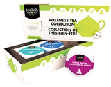 Love Yourself with 3 teas from the Wellness Tea Collection.   The wellness blends combine the power of healing herbs with rich spices and real fruit pieces. The results are fantastically delicious, incredibly aromatic, and lovingly crafted teas to help inspire your journey to wellness.   Package includes:  DELICIOUS DETOX Ingredients: Sencha green tea, lemon verbena, ginger, lemon myrtle, apple bits, flavoring, calendula petals. Made in a facility that uses nuts.  STRESS BUSTER  Ingredients: Tulsi herb, apple bits, pear bits, red currants, ginger, rooibos, cinnamon, sunflower blossoms, flavoring, pineapple bits. Made in a facility that uses nuts. Caffeine Free  SLEEP FAIRY  Ingredients: Lemongrass, apple bits, vervian, green rooibos, chamomile, lavender, orange pieces, flavoring, vanilla bits. Made in a facility that uses nuts. Caffeine Free.   Brewing Instructions : Use 1 teaspoon per cup. Steep in boiling water for 2-5 mins.
