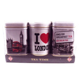 Tea Time Mini Tins is a gift pack of three miniature tins, with the iconic I Love London design, a Route-master bus outside Big Ben, and a famous London road-sign above Westminster.  This eye-catching gift also contains three carefully selected traditional blends of tea: English Breakfast Tea, English Afternoon Tea, and London Tea.  Beautifully presented, this is an ideal gift for friends and family living abroad.