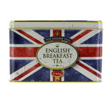 New English Teas English Breakfast Tea in Union Jack tin is the country's favourite tea with which to start their day, and comes in vintage-style British flag emblazoned tin.  Each tin comes with 40 tea bags of this beloved, smooth black tea.  Best of all you can keep this amazing tin as a keepsake to hold all your bits and bobs