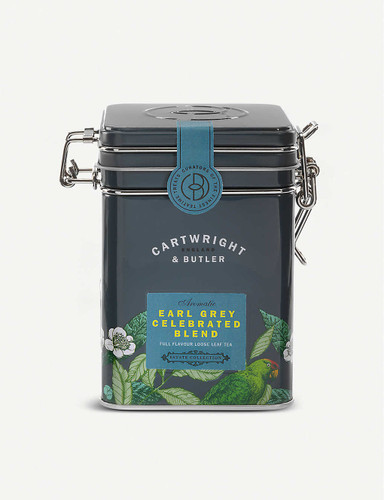 Cartwright & Butler Earl Grey Celebrated loose leaf tea blend 100g  Ingredients 93% Black Tea, 3% cornflowers, 2% Orange Peels, 2% natural bergamot flavour  Nutritional Information Portion Size 2.5 g Energy - kJ 0 per 100g Energy - kcal 0 per 100g Fat (g) 0 per 100g Carbohydrates (g) 0 per 100g Carbohydrates of which Sugars (g) 0 per 100g Fibre (g) 0 per 100g Protein (g) 0 per 100g Salt (g) 0 per 100g  Storage Information Store in a cool, dry place  Country of Origin United Kingdom