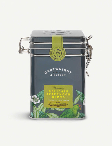 Cartwright & Butler Delicate Afternoon Tea loose leaf tea blend 100g  Ingredients 50% Darjeeling tea, 50% Assam tea  Nutritional Information Portion Size 2.5 g Energy - kJ 0 per 100g Energy - kcal 0 per 100g Fat (g) 0 per 100g Carbohydrates (g) 0 per 100g Carbohydrates of which Sugars (g) 0 per 100g Fibre (g) 0 per 100g Protein (g) 0 per 100g Salt (g) 0 per 100g  Storage Information Store in a cool, dry place  Country of Origin United Kingdom