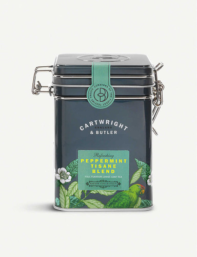 Cartwright & Butler Peppermint Tisane loose leaf tea blend 100g  Ingredients 95% Peppermint, 5% safflowers  Nutritional Information Portion Size 2.5 g Energy - kJ 0 per 100g Energy - kcal 0 per 100g Fat (g) 0 per 100g Carbohydrates (g) 0 per 100g Carbohydrates of which Sugars (g) 0 per 100g Fibre (g) 0 per 100g Protein (g) 0 per 100g Salt (g) 0 per 100g  Storage Information Store in a cool, dry place  Country of Origin United Kingdom